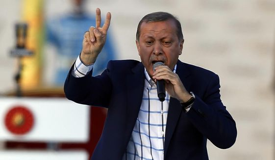 Turkey's President Recep Tayyip Erdogan addresses a rally marking the 563rd anniversary of the Ottoman conquest of Istanbul -  formerly Constantinople - in Istanbul, Turkey, Sunday, May 29, 2016. Erdogan has criticized the United States, Russia and Iran for their presence in Syria and said their unwillingness to depose Syrian President Bashar Assad was contributing to Syrian peoples' massacre and pain.(AP Photo/Emrah Gurel)
