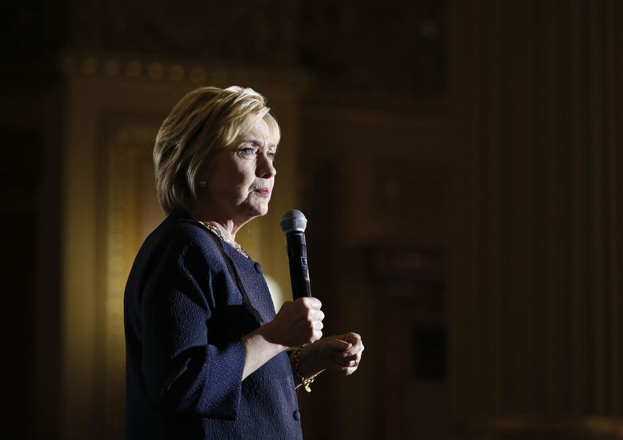 Hillary Clinton took questions from the press traveling with her campaign once, in Minnesota in March, but hasn't held an organized press conference in six months. (Associated Press)