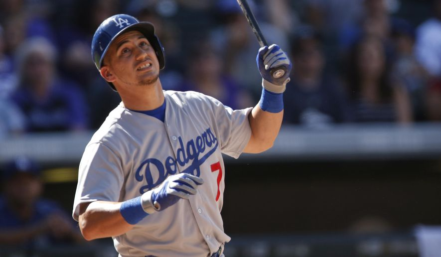 FILE - In this Sept. 27, 2015, file photo, Los Angeles Dodgers' Alex Guerrero bats during a baseball game against the Colorado Rockies in Denver. The Dodgers have designated Guerrero for assignment, essentially giving up on a player signed to a $28 million, four-year contract in October 2013.Los Angeles has 10 days to trade Guerrero or place him on unconditional release waivers. His deal prohibits the Dodgers from assigning him to the minor leagues without his consent. (AP Photo/David Zalubowski)