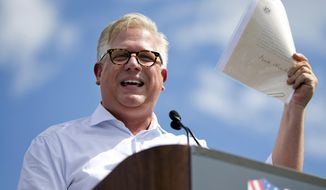 In this Wednesday Sept. 9, 2015, file photo, radio host Glenn Beck speaks during a Tea Party rally against the Iran deal on the West Lawn of the Capitol in Washington. (AP Photo/Jacquelyn Martin, File)