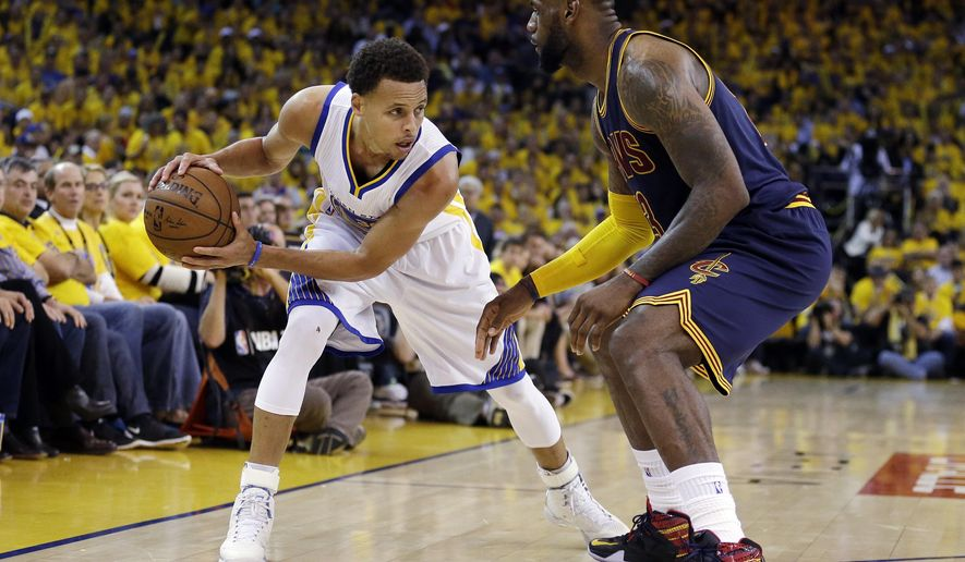 FILE - In this June 14, 2015, file photo, Golden State Warriors guard Stephen Curry, left, is guarded by Cleveland Cavaliers forward LeBron James during the second half of Game 5 of basketball's NBA Finals in Oakland, Calif. James knows there's no stopping Stephen Curry. The Cavaliers, healthier and better built for the NBA Finals than a year ago, feel their best chance to beat the Warriors is to contain the MVP and sideman Klay Thompson from splashing 3-pointers for four quarters. (AP Photo/Ben Margot, File)