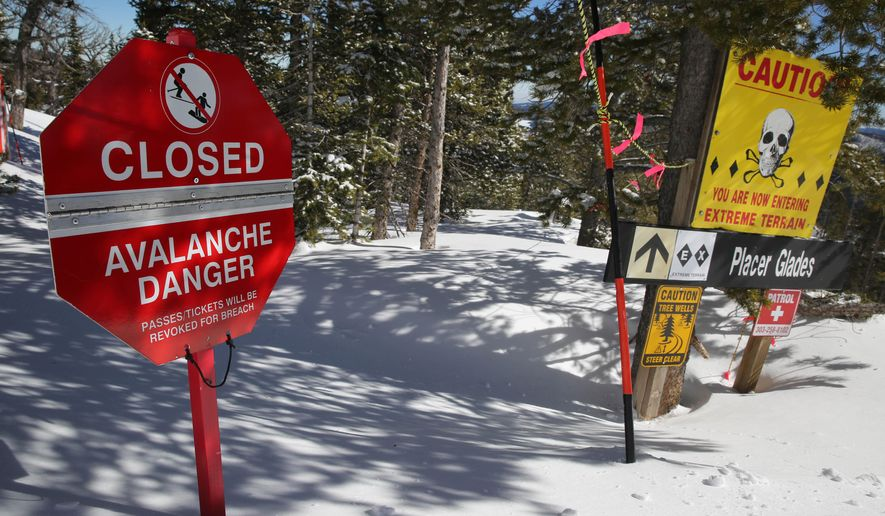 "FILE- In this Feb. 26, 2014, file photo, a sign alerts skiers to danger on Corona Bowl, known for its extreme skiing, at Eldora Mountain Resort, near Nederland, Colo. In a lawsuit over the death of a skier at a different resort, the Colorado Supreme Court ruled Tuesday, May 31, 2016, that avalanches are among the ""inherent dangers of skiing"" so ski resorts can't be held liable for people killed by slides within their boundaries. (AP Photo/Brennan Linsley, File)"