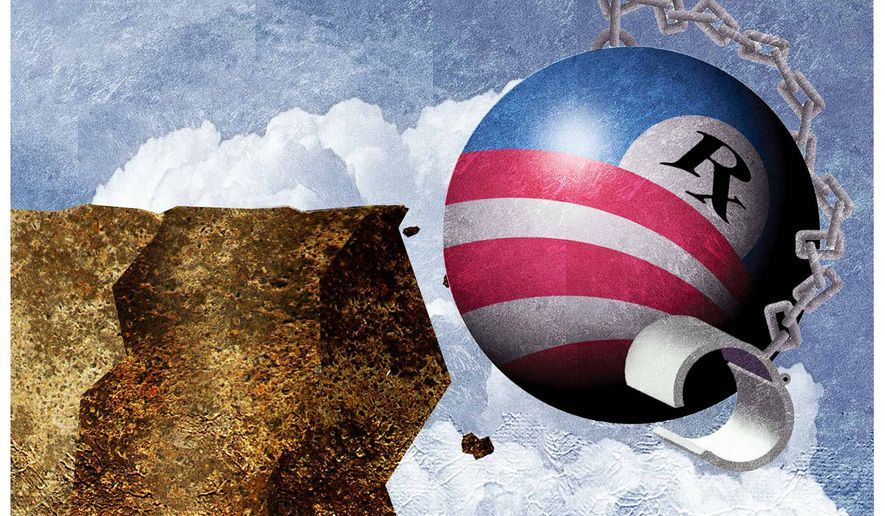 Illustration on the impending collapse of Obamacare by Alexander Hunter/The Washington Times