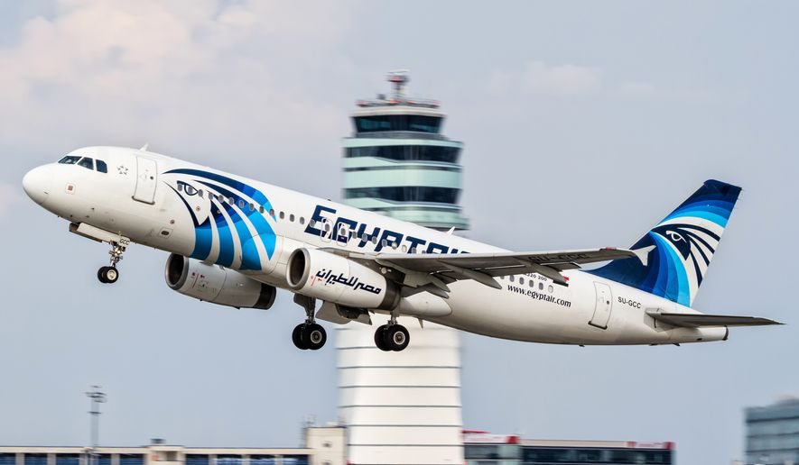 This Aug. 21, 2015, file photo shows an EgyptAir Airbus A320 with the registration SU-GCC taking off from Vienna International Airport, Austria. Egypt's Civil Aviation Ministry said Wednesday, June 1, 2016, that a French ship has picked up signals from deep under Mediterranean Sea, presumed to be from black boxes of the EgyptAir Airbus A320 with the registration SU-GCC that crashed last month, killing all 66 passengers and crew on board. (AP Photo/Thomas Ranner, File)
