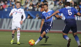 Iceland midfielder Aron Sigurdarson #7 and United States defender Steve Birnbaum #15 in actions during a men's international friendly soccer game in Carson, Calif., Sunday, Jan., 31, 2016. The United States won 3-2. (AP Photo/Ringo H.W. Chiu)