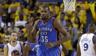 Oklahoma City Thunder's Kevin Durant will be a free agent in a week. A variety of teams, including the Washington Wizards, have enough salary cap space to sign him. (AP Photo/Marcio Jose Sanchez)