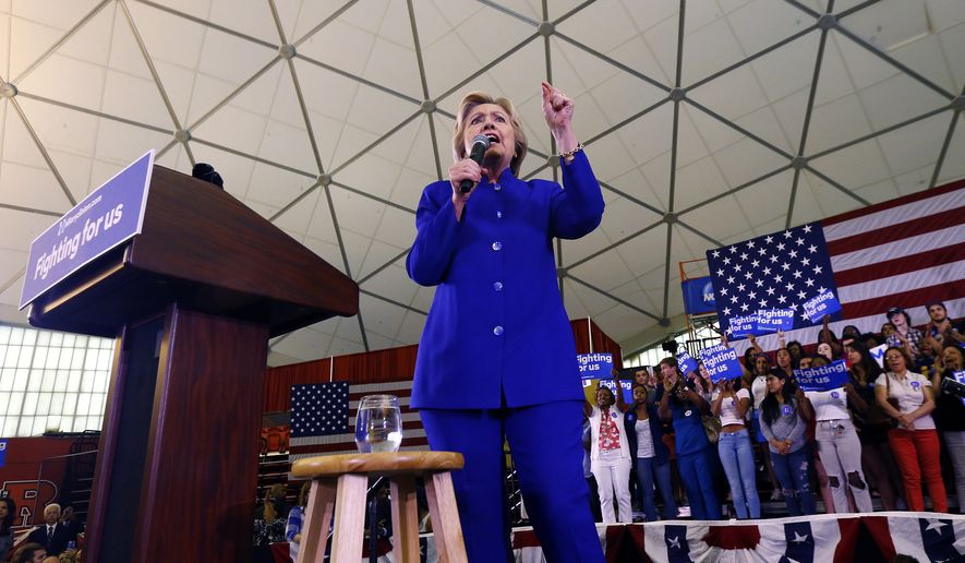 Democratic presidential candidate Hillary Clinton speaks during a campaign stop at the Newark campus of Rutgers University, Wednesday, June 1, 2016, in Newark, N.J. (AP Photo/Julio Cortez)