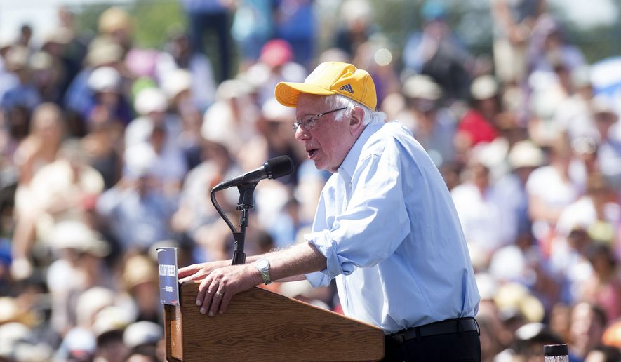 Democratic presidential candidate Sen. Bernie Sanders, I-Vt., speaks during a campaign rally at the Cubberley Community Center on Wednesday, June 1, 2016, in Palo Alto, Calif. (AP Photo/Noah Berger)