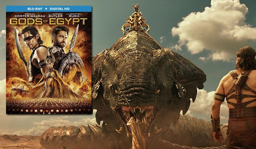 "The goddess Hathor tames a giant cobra as Horus looks on in ""Gods of Egypt,"" now available on Blu-ray from Lionsgate Home Entertainment."