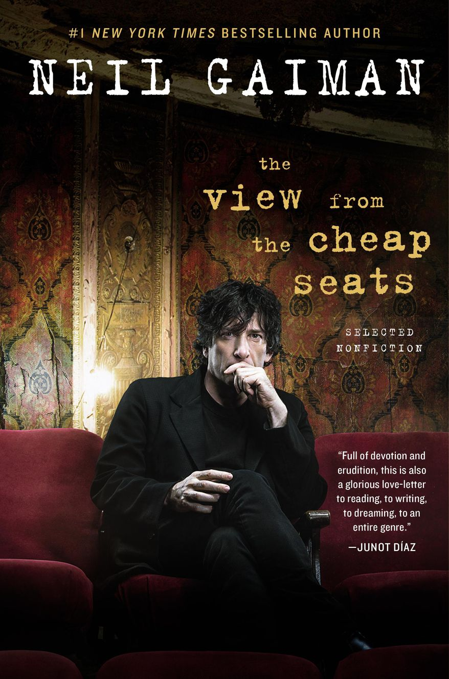 """This book cover image released by William Morrow shows, """"The View From the Cheap Seats,"""" by Neil Gaiman. (William Morrow via AP)"""