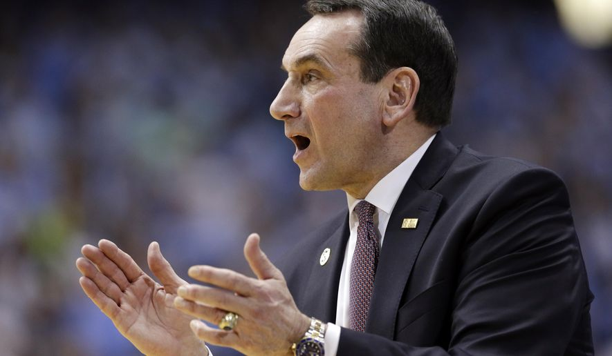 """FILE - In this Feb. 17, 2016, file photo, Duke head coach Mike Krzyzewski directs his team during the first half of an NCAA college basketball game against North Carolina in Chapel Hill, N.C. Krzyzewski says he isn't even thinking about the end of his Hall of Fame coaching career. Krzyzewski spoke publicly Wednesday, June 1, 2016, for the first time since a pair of offseason surgeries and said, """"I don't have plans for the future"""" and that """"I don't have a retirement thing."""" (AP Photo/Gerry Broome, File)"""