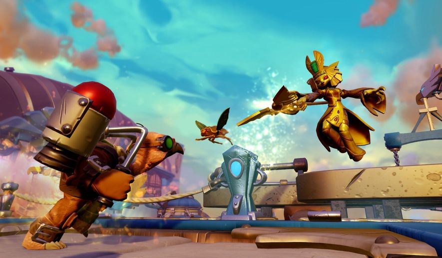 """This image released by Activision shows the character Golden Queen, right, in a scene from the game,""""Skylanders Imaginators,"""" where players can create their own unique characters. The fifth installment of the series is set to debut Oct. 16, 2016.  (Activision via AP)"""
