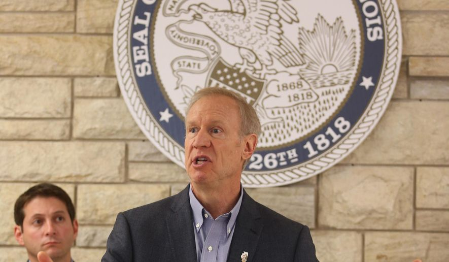 Illinois Gov. Bruce Rauner, addresses a crowd of state workers and local politicians Wednesday morning June 1, 2016 at the Alton, Ill., Mental Health Center, in Alton, Ill. llinois' 11-month budget impasse dominated talks around the Capitol and the state during the legislative session that concluded Tuesday. But lawmakers also considered a number of non-budget measures and sent them to the governor, including proposals on marijuana, firearms and making it easier to register people to vote. (John Badman/The Telegraph via AP)