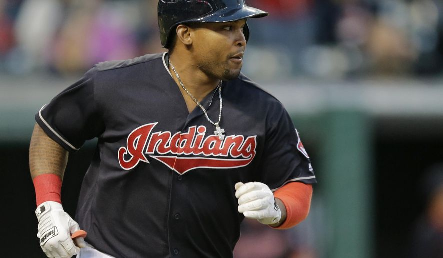 FILE - In this May 16, 2016, file photo, Cleveland Indians' Marlon Byrd runs the bases after hitting a two-run home run off Cincinnati Reds relief pitcher Layne Somsen in the sixth inning of an interleague baseball game in Cleveland. Byrd has been suspended 162 games for testing positive a second time for a performance-enhancing drug, a person with knowledge of the suspension said Wednesday, June 1, 2016. (AP Photo/Tony Dejak, File)