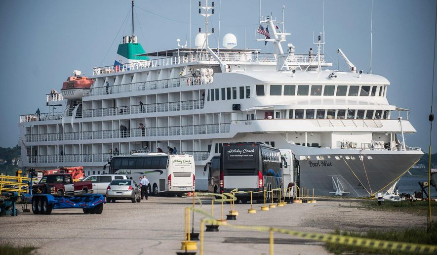 In this Sept. 2, 2015 photo, the Pearl Mist cruise ship docks at the Mart Dock in Muskegon, Mich. Work is underway on a roughly $1.1 million project to transform the waterfront parks in downtown Muskegon. (Mischa Lopiano/Muskegon Chronicle-M-Live via AP) ALL LOCAL TELEVISION OUT; LOCAL TELEVISION INTERNET OUT; MANDATORY CREDIT