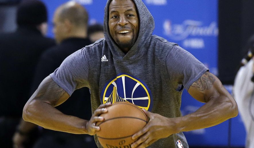 Golden State Warriors' Andre Iguodala goes through drills during NBA basketball practice Wednesday, June 1, 2016, in Oakland, Calif. The Warriors host the Cleveland Cavaliers in Game 1 of the NBA finals on Thursday. (AP Photo/Marcio Jose Sanchez)