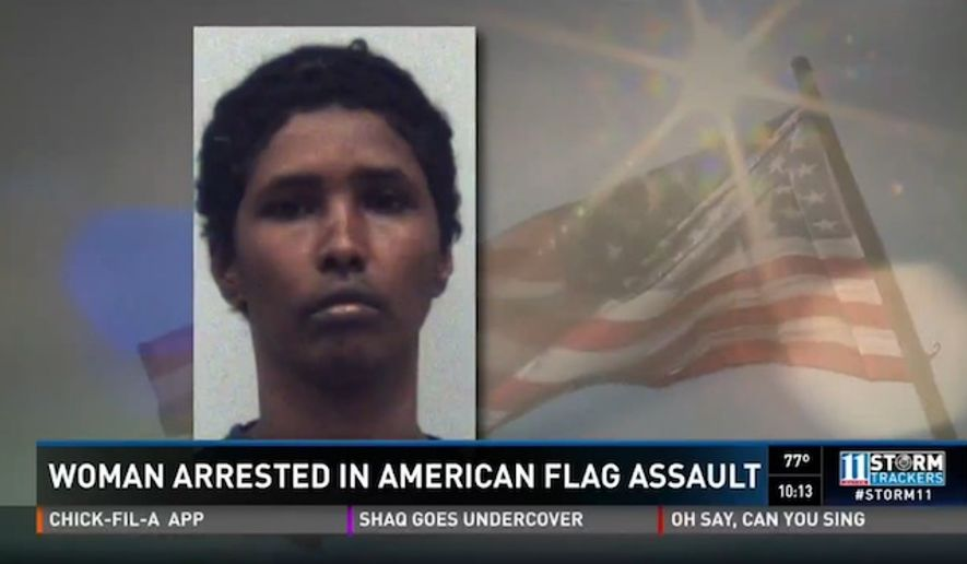 Amina Ali Ahra is facing battery charges in Georgia after she allegedly stole a homeowner's American flag and started attacking her with it. (WXIA)