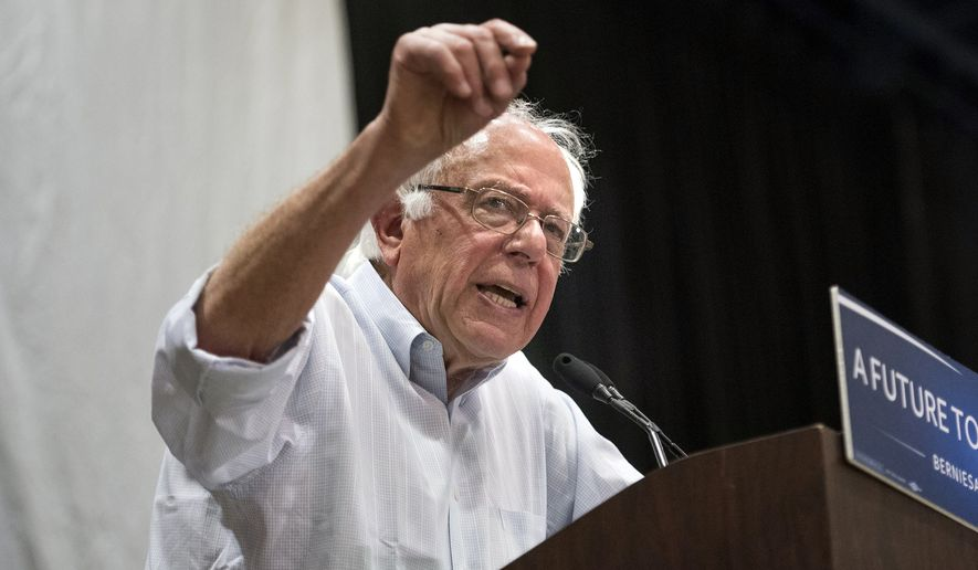 Democratic presidential candidate Sen. Bernie Sanders, I-Vt. speaks to a crowd of supporters at Modesto Centre Plaza in Modesto, Calif., on Thursday, June, 2, 2016. (Andy Alfaro/The Modesto Bee via AP) MANDATORY CREDIT