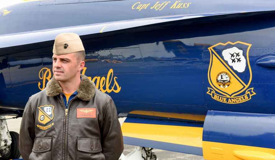 This May 19, 2016, photo shows Marine Capt. Jeff Kuss at an air show in Lynchburg, Va. A Blue Angels F/A-18 fighter jet crashed Thursday, June 2, near Nashville, Tenn., killing the pilot just days before a weekend air show performance, officials said. A U.S. official said the pilot was Kuss. (Matt Bell/The Register & Bee via AP)