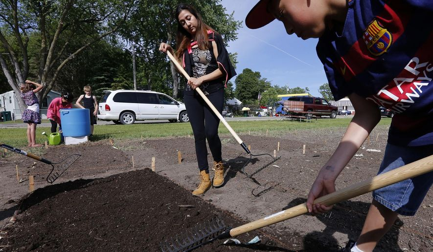 In this Tuesday, May 24, 2016, Marisol Rodriguez, left, and Carlos Esparza-Garcia, 11, spread compost on a plot before planting at the Park Lane Neighborhood Garden at Oak Terrace Estates in Rochester, Minn. (Andrew Link/The Rochester Post-Bulletin via AP) MANDATORY CREDIT