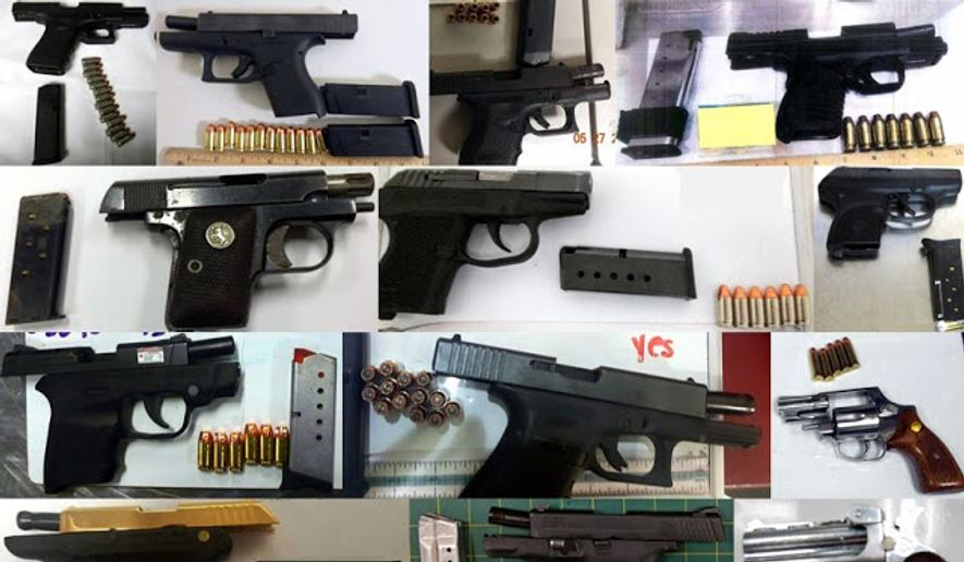 A sampling of the 74 firearms found by Transportation Security Administration officials in the week leading up to Memorial Day 2016. (Image: TSA)