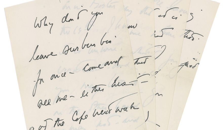 This April 15, 2016 photo provided by RR Auction shows a hand-written letter by President John F. Kennedy. The letter written by Kennedy to a purported paramour seeking to set up a liaison is one of several Kennedy-related items being sold at auction. The online auction is being held by Boston-based RR Auction starting June 16. (RR Auction via AP)