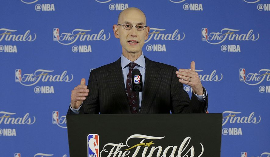NBA commissioner Adam Silver speaks during a news conference before Game 1 of basketball's NBA Finals between the Golden State Warriors and the Cleveland Cavaliers in Oakland, Calif., Thursday, June 2, 2016. (AP Photo/Jeff Chiu)