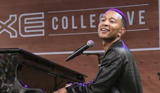 In this March 17, 2016, file photo, John Legend performs during the South by Southwest Music Festival in Austin, Texas. Legend will perform the national anthem for Game 1 of the NBA Finals between the Golden State Warriors and the Cleveland Cavaliers on Thursday, June 2, 2016. (Photo by Jack Plunkett/Invision/AP, File)
