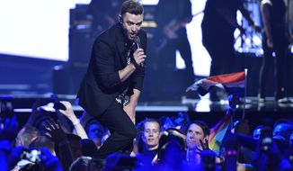 In this May 14, 2016, file photo, U.S. singer Justin Timberlake performs  during the Eurovision Song Contest final in Stockholm, Sweden. (AP Photo/Martin Meissner, File)