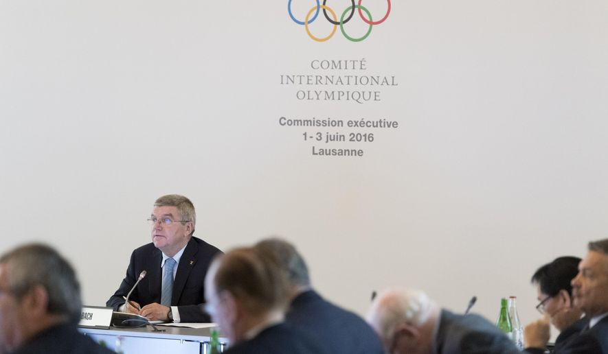 International Olympic Committee (IOC) president Thomas Bach, from Germany speaks during the opening of the second day of the executive board meeting of the International Olympic Committee (IOC), in Lausanne, Switzerland, Thursday, June 2, 2016. (Laurent Gillieron/Keystone via AP)