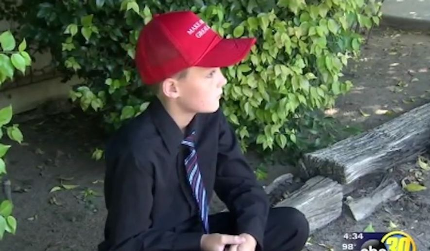 Logan Autry, 9, said he's standing up for his First Amendment rights after he left school Thursday because administrators ordered him to remove his pro-Donald Trump hat. (KFSN)