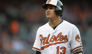 Baltimore Orioles' Manny Machado looks on during a baseball game against the Boston Red Sox, Tuesday, May 31, 2016, in Baltimore. (AP Photo/Nick Wass)