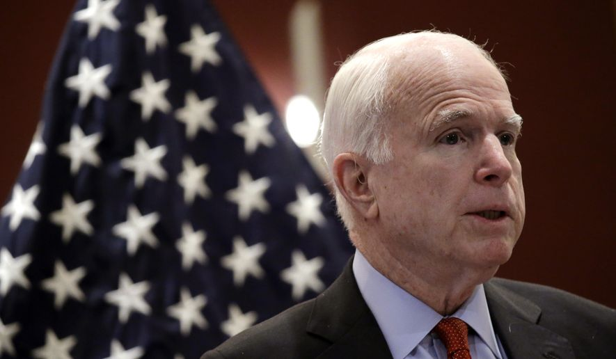 """Sen. John McCain, R-Ariz., delivers his speech titled """"America's Enduring Commitment to Security and Prosperity in Asia"""" at the S. Rajaratnam School of International Studies (RSIS) Distinguished Public Lecture on Friday, June 3, 2016, in Singapore. (AP Photo/Wong Maye-E) ** FILE **"""
