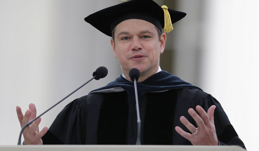 "Actor Matt Damon gestures during his address at the Massachusetts Institute of Technology's commencement in Cambridge, Mass., Friday, June 3, 2016. Damon won an Academy Award for co-writing the 1997 film ""Good Will Hunting"", where he portrayed a mathematically gifted MIT janitor. (AP Photo/Charles Krupa)"