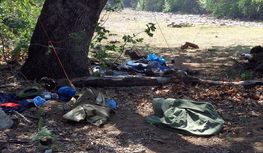 This Wednesday, June 1, 2016 photo provided by Arizona Game and Fish Department shows a campsite with unsecured food sources and garbage in the area where a black bear clawed a camper in Young, Ariz. State wildlife officials say the black bear that clawed the male camper in north-central Arizona has been trapped and euthanized. Arizona Game and Fish Department officials say the young male bear was caught in a culvert trap Wednesday night. (Arizona Game and Fish Department via AP)