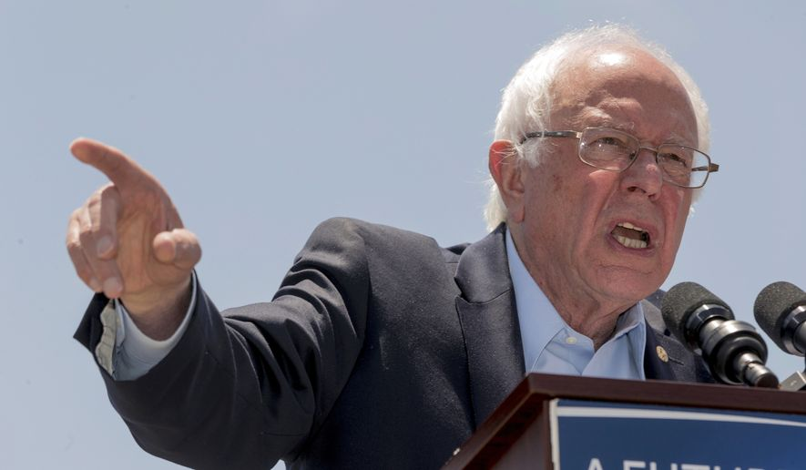 In this May 26, 2016 photo, Democratic presidential candidate Sen. Bernie Sanders, I-Vt., speaks during a campaign rally at Ventura College in Ventura, Calif.  With the end of the primaries looming, Bernie Sanders is focused on victory in California yet offering signals about what he will do next to shape the party's platform at the convention, help down-ballot Democrats and defeat Donald Trump  (AP Photo/Damian Dovarganes)
