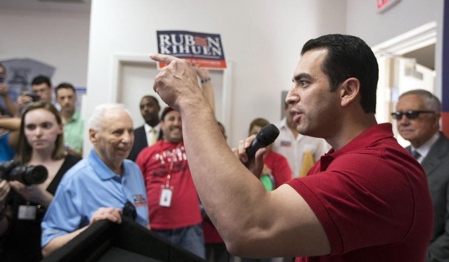 State Sen. Ruben Kihuen speaks during a canvassing event at his campaign headquarters on Wednesday, June 1, 2016, in North Las Vegas. (Erik Verduzco/Las Vegas Review-Journal via AP)