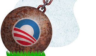 The Obama Drag Illustration by Greg Groesch/The Washington Times