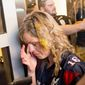 A Trump supporter attacked and egged by anti-Trump rioters after a Trump rally in San Jose, Calif. (Associated Press)