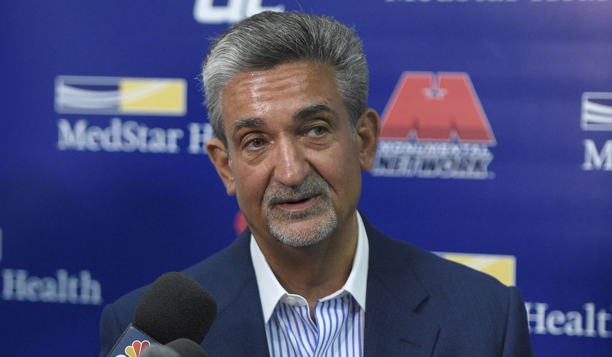 Ted Leonsis, Monumental Sports & Entertainment founder, chairman, majority owner and CEO, speaks to reporters before the Washington Mystics played the Minnesota Lynx during an WNBA basketball special analytic scrimmage, Tuesday, May 26, 2015, in Washington. (AP Photo/Nick Wass)