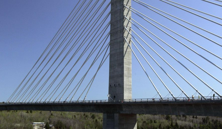 FILE- In this May 2007 file photo, the Penobscot Narrows Bridge dwarfs a sailboat passing underneath, in Prospect, Maine. The elevator serving the world's tallest bridge observatory has inconvenienced passengers on separate occasions by stranding them and forcing them to trudge down flights of stairs in the nine years since it opened, according to state documents. (AP Photo/Robert F. Bukaty, File)