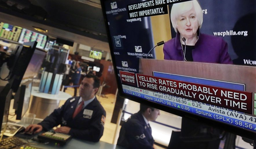 Federal Reserve Chair Janet Yellen's speech in Philadelphia is broadcast on the floor of the New York Stock Exchange, Monday, June 6, 2016. (AP Photo/Richard Drew)