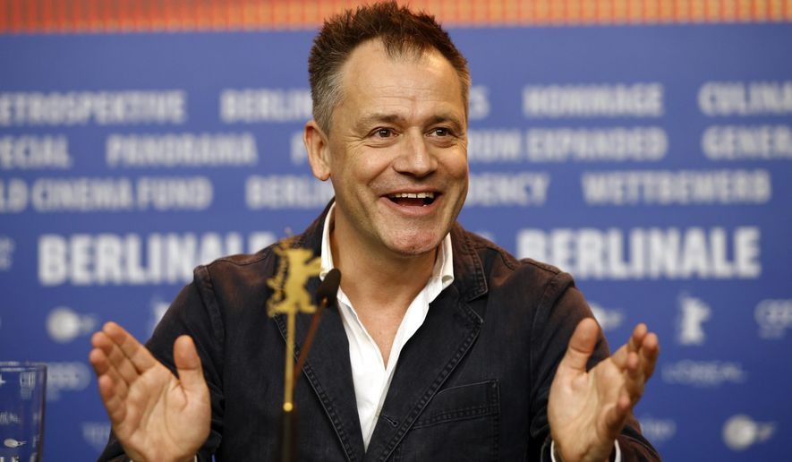 "FILE - In this Feb. 16, 2016 file photo, director Michael Grandage speaks during a press conference for his film, ""Genius,"" at the 2016 Berlinale Berlin Film Festival in Berlin, Germany. The film is a biopic about literary editor Max Perkins and his client, Thomas Wolfe, who wrote ""Look Homeward, Angel"" and ""Of Time and the River."" (AP Photo/Axel Schmidt, File)"