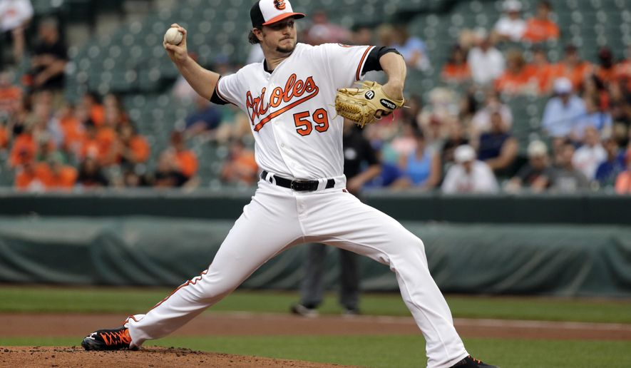 Baltimore Orioles starting pitcher Mike Wright throws to the Kansas City Royals in the first inning of a baseball game in Baltimore, Monday, June 6, 2016. (AP Photo/Patrick Semansky)