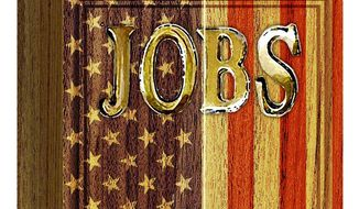 Illustration on the national jobs crisis by Alexander Hunter/The Washington Times
