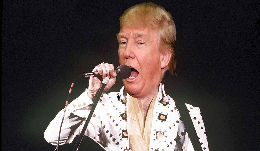 Donald Trump running an Elvis campaign    Illustration by Alexander Hunter/The Washington Times
