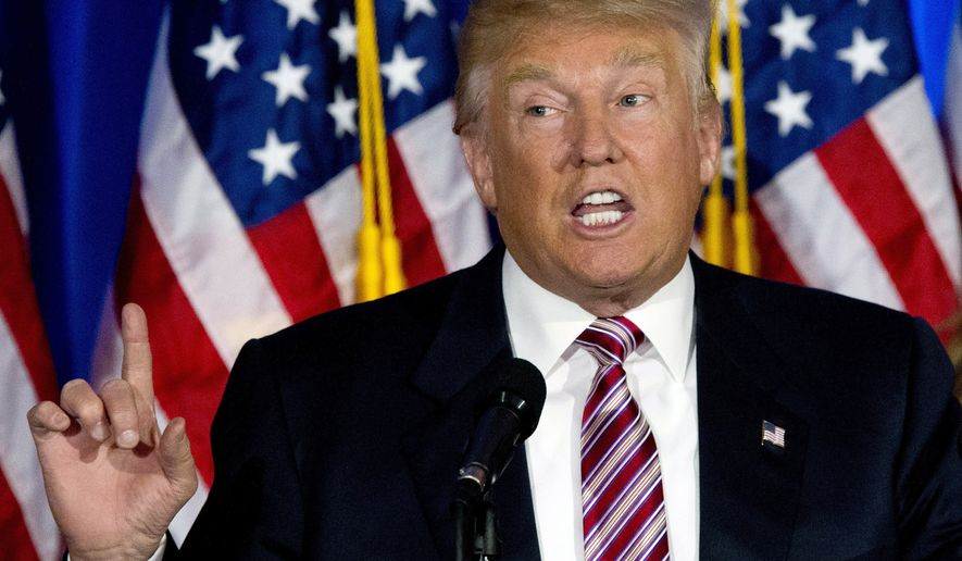 Republican presidential candidate Donald Trump is joined by his wife Melania as he speaks during a news conference at the Trump National Golf Club Westchester, Tuesday, June 7, 2016, in Briarcliff Manor, N.Y. (AP Photo/Mary Altaffer)