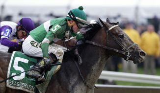 FILE - In this May 21, 2016, file photo, Exaggerator (5), with Kent Desormeaux, aboard moves past Nyquist, ridden by Mario Gutierrez, on the way to winning the 141st Preakness Stakes horse race at Pimlico Race Course in Baltimore. Next Saturday there'll be no Triple try. No Kentucky Derby winner, either. And no sellout crowd. Just Preakness winner Exaggerator taking on 3-year-olds he's already beaten and a few others in their first Triple Crown race.  (AP Photo/Garry Jones, File)