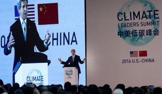 U.S. Secretary of State John Kerry delivers a keynotes address at the U.S.-China Climate-Smart/Low-Carbon Cities Summit held at a hotel in Beijing, Tuesday, June 7, 2016. Kerry and Boston Mayor Marty Walsh announced that Boston will host an international climate change summit next year, and hope to discuss and share experiences in building low-carbon, climate-resilient communities. (AP Photo/Andy Wong, Pool)