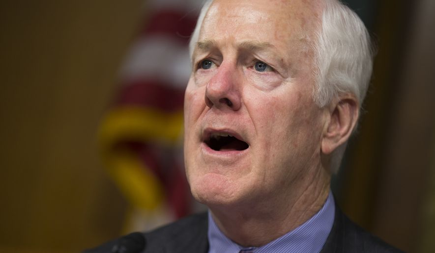 Senate Constitution subcommittee Chairman Sen. John Cornyn, Texas Republican, speaks on Capitol Hill in Washington on June 7, 2016, during a joint subcommittee hearing with the Senate subcommittee on Oversight, Agency Action, Federal Rights and Federal Courts on the Holocaust Expropriated Art Recovery Act. (Associated Press) **FILE**